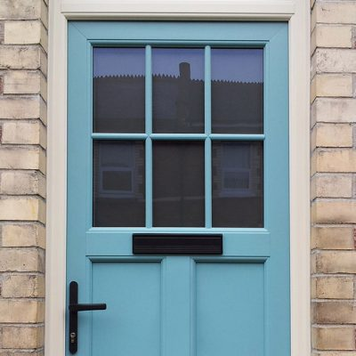 Light Blue Entrance Door