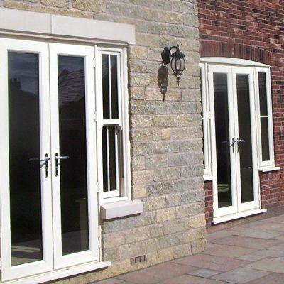 Dual white uPVC french doors