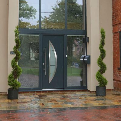 Anthracite Grey composite door with decorative glass
