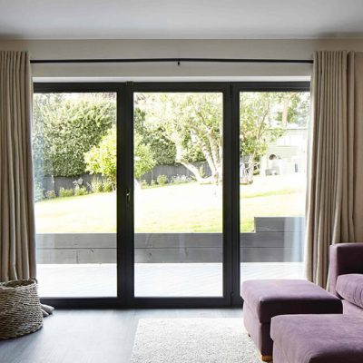 Black aluminium patio sliding door