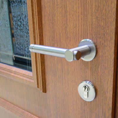 Timber effect composite entrance door