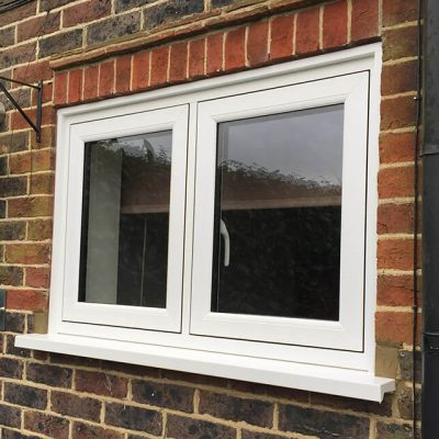 White uPVC flush sash casement window
