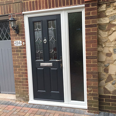 Black composite entrance door