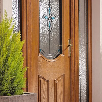 Oak Effect Composite Door with decorative glass