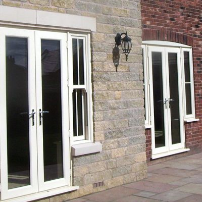 Dual white uPVC french doors